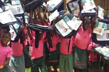 Photos: Abia Students Shower Praises on Sen Orji Kalu as they Receive Educational Materials